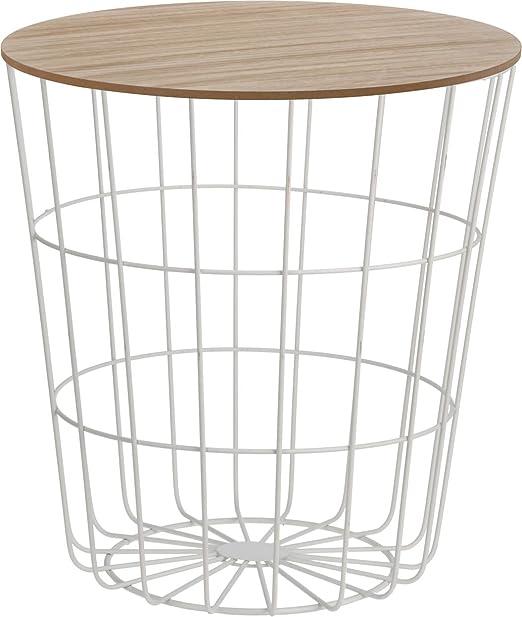 Diseño Mesa Auxiliar – Cesta de metal con tapa de madera ...