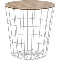 Mesa auxiliar de diseño, cesta de metal