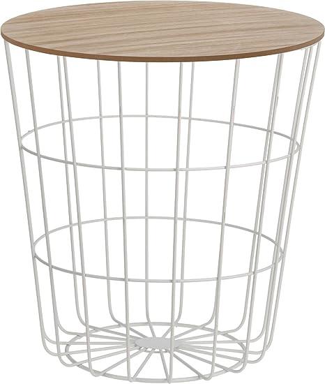 Design Beistelltisch Metall Korb Mit Holz Deckel Dekorativer
