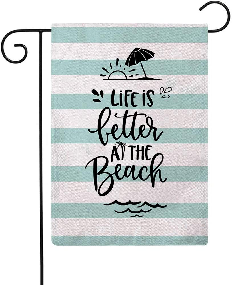 ULOVE LOVE YOURSELF Beach Summer Garden Flag Life is Better at The Beach Small Garden Flag Double Sided Outdoor House Yard Flag Summer Nautical Home Decor Flags 12 x 18 Inch