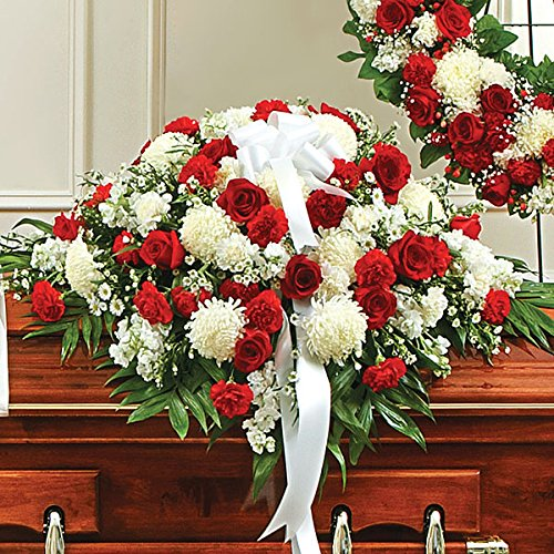 PlantShed - Cherished Memories Half Casket Cover-Red & White - Flower Hand Delivery in NYC Local Manhattan Florist (Floral Arrangements For A Funeral)