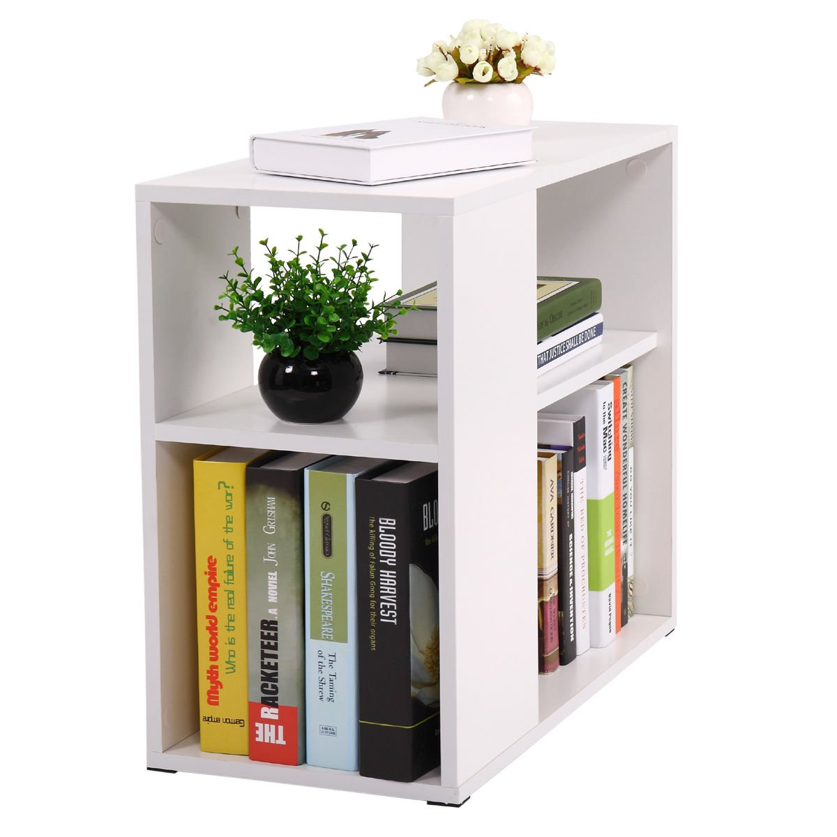 Side Sofa Table Coffee Tray Ottoman Couch Console Stand End Magazine Organizer White by Eramaix (Image #5)