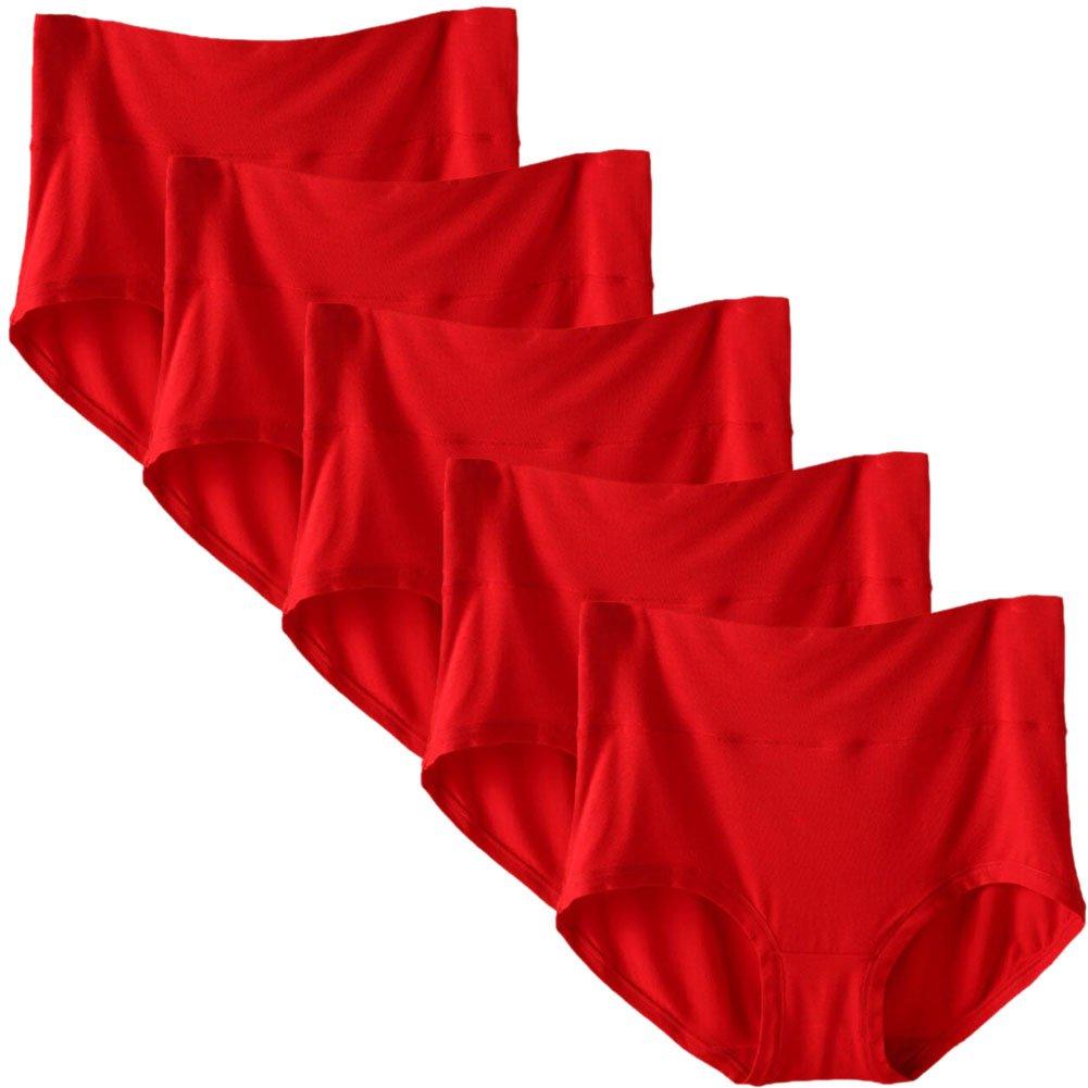 CeeDeek Women's 5 Pack Panties Brief Big Size High Waisted Modal Underwear