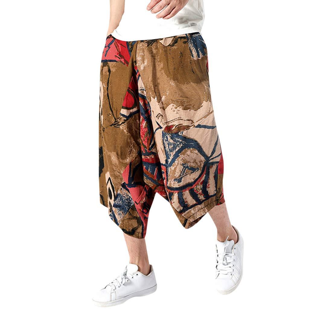 wodceeke Fashion Men's Printed Vintage Cotton Blends Linen Drop Crotch Jogging Harem Pants Yoga Trouser (L, Brown) by wodceeke (Image #1)