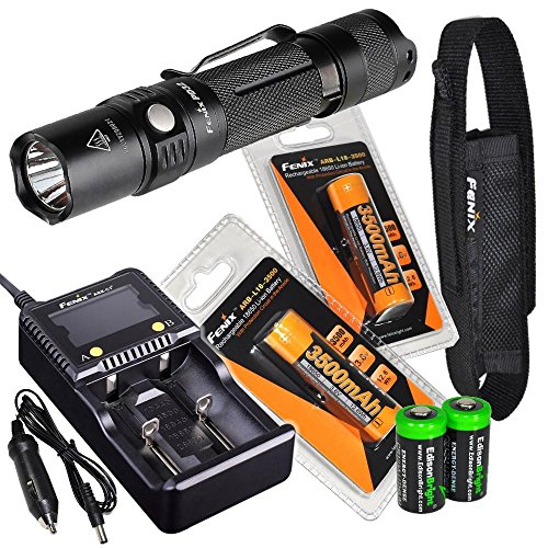 2016 Edition Fenix PD32 900 Lumen CREE LED Tactical Flashlight, Fenix smart battery charger, 2 X Fenix 18650 ARB-L18 3500mAh rechargeable batteries with 2X EdisonBright CR123A Batteries bundle