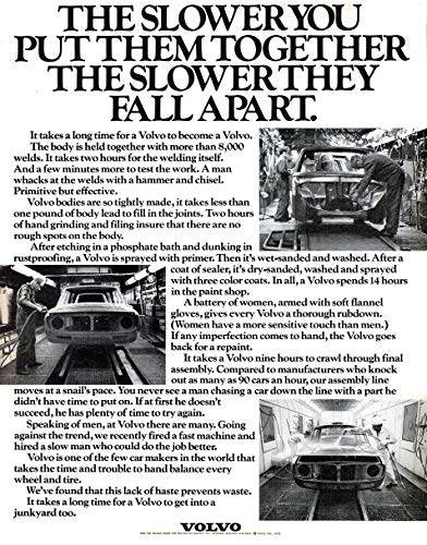 - 1971 VOLVO 140 SERIES * The slower you put them together, the slower they fall apart. * LARGE VINTAGE NON-COLOR AD USA - NICE ORIGINAL !!