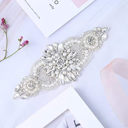 Bridal Wedding Apliques Sewn Iron on Rhinestone Belts Sashes Sparkle Thin  lightweight for DIY Women Dress 230c0ad0515e