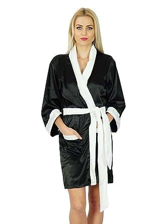 8a3c9acf11 Bimba Women Short Satin Robe Velvet Belt Getting Ready Bridesmaid Robe  Coverup