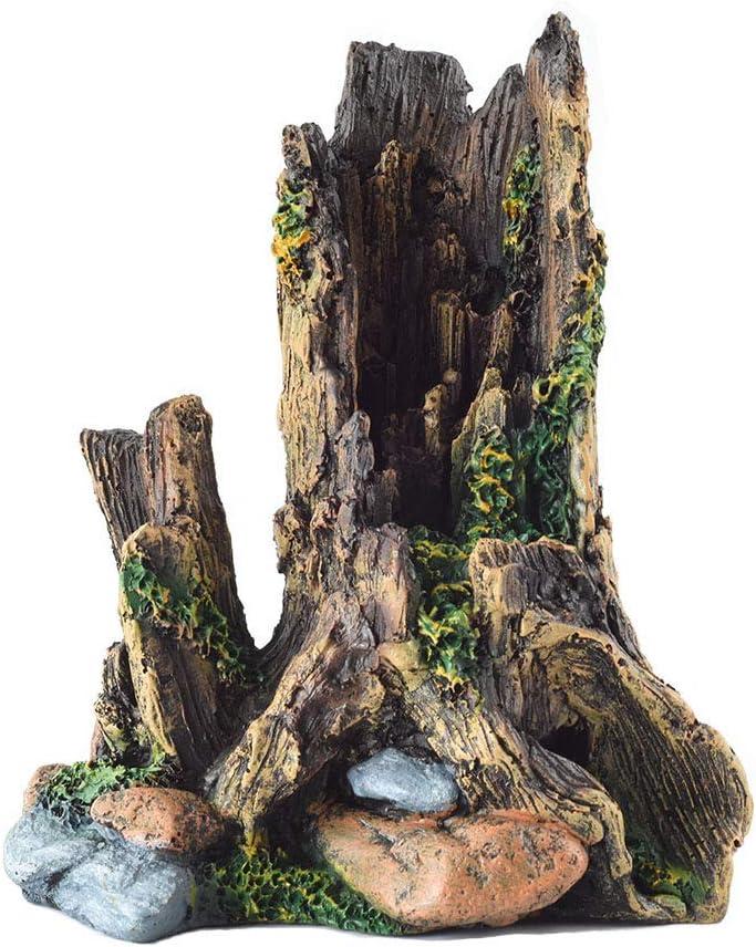 OMEM Reptile Decorations for Terrarium Habitat Decor Tree Trunk Caves Aquarium Fish Tank Ornament