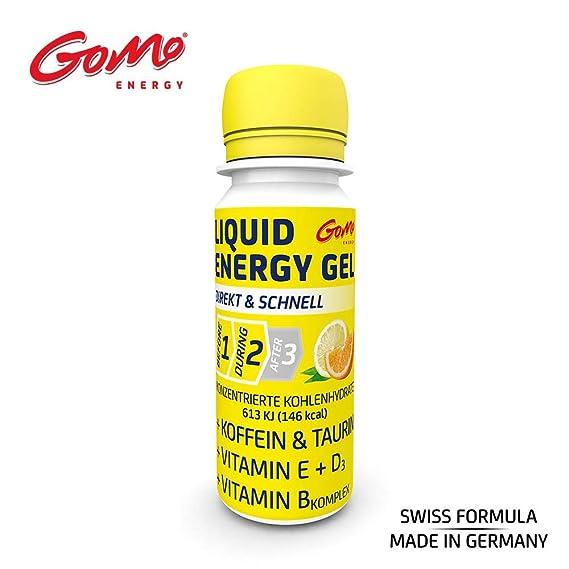 GoMo ENERGY® ENERGÍA LÍQUIDA GEL DE VITAMINA | Cafeína + Vitamina D + Vitamina E + Complejo de Vitamina B | Carbohidratos concentrados para un mejor ...