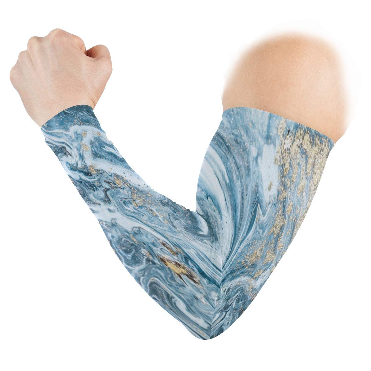 Arm Sleeves Marble Pattern Mens Sun UV Protection Sleeves Arm Warmers Cool Long Set Covers White
