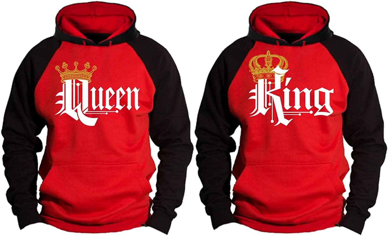 King Queen Matching Couple Pullover Hoodie Set Valentines Day Gift His /& Hers Hoodies