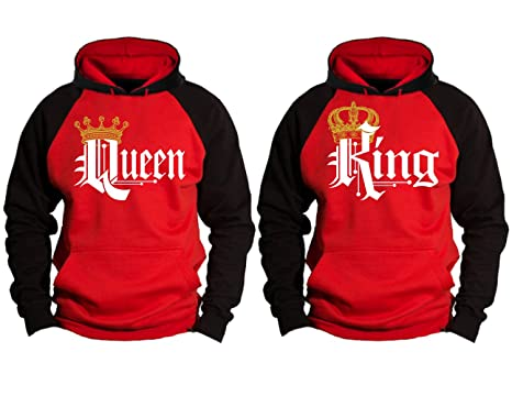 f1378c45 Couple Matching King Queen Crown Raglan Hoodie Pullover Hooded Sweatshirt  at Amazon Men's Clothing store: