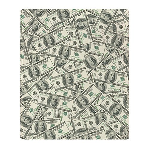 (CafePress 100 Dollar Bill Money Pattern Soft Fleece Throw Blanket, 50