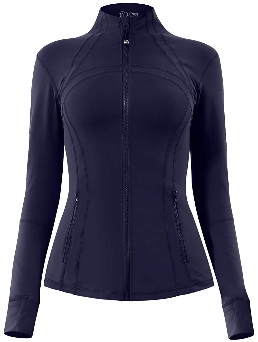 Queenie Ke Damen Sports Jacke Slim Fit Full-Zip Daumenlöcher QK8205JACKET