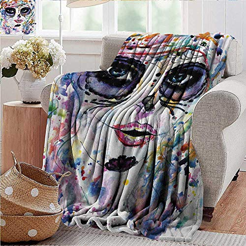 PearlRolan Blankets Fleece Blanket Throw,Sugar Skull,Halloween Girl with Sugar Skull Makeup Watercolor Painting Style Creepy Look,Multicolor,300GSM,Super Soft and Warm,Durable Throw Blanket -