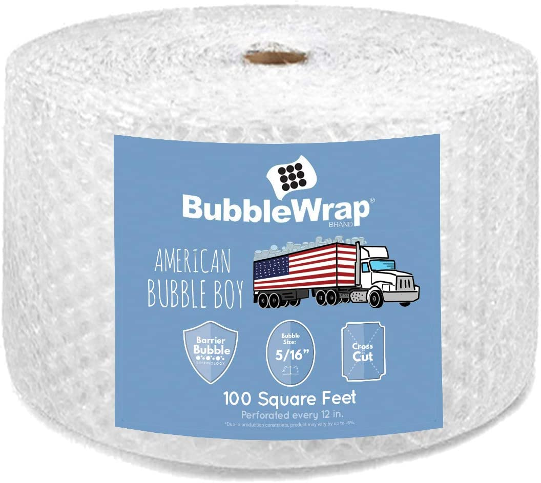 """Bubble Wrap, Small 3/16, Medium 5/16 and Large 1/2 with Perforation Every 12"""" (100' Medium (5/16) Bubble Wrap)"""