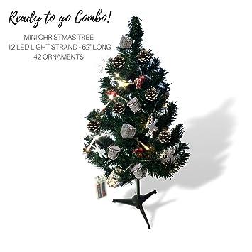 small christmas tree set 14 pine xmas tree with 1 strand of lighted garland - Christmas Tree With Garland