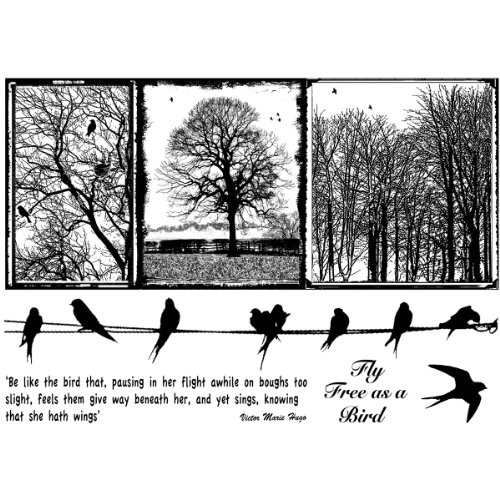 Crafty Individuals CI-287 Unmounted Rubber Stamp, Birds on a Wire