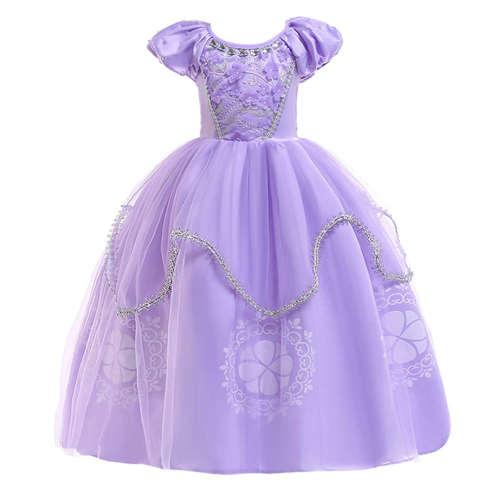 Princess Rapunzel Tutu Dresses for Baby Toddler Girls Halloween Christmas Birthday Party Gown (7-8 Years, Purple) by sweetnice Girls Dress