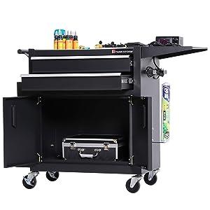 TANKSTORM Tattoo Trolley, Tattoo Cart, Tattoo Work Station, Service Cart Storage Black(TZ12W)