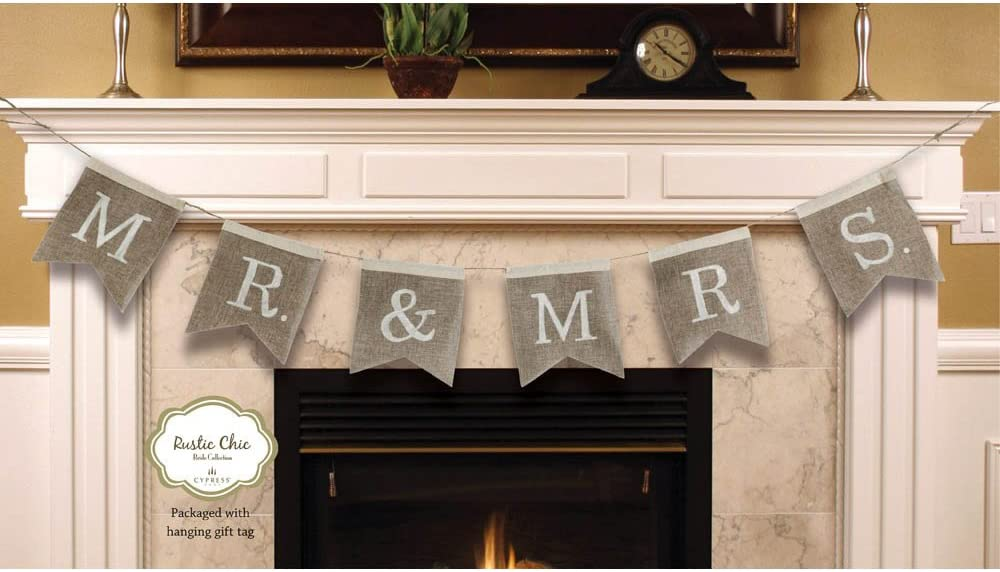"""Cypress Home Mr. and Mrs. Burlap Wedding Bunting Banner - Engagement Party or Wedding Reception Decoration - 67""""L x 0.5""""W x 8.25""""H"""
