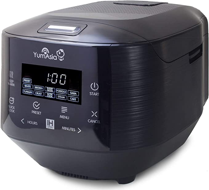 Yum Asia Bamboo Rice Cooker with Induction Heating (IH) and Ceramic Tray, 7 Rice Cooking Functions, 4 Multi Cooker Functions, Motouch LED Display (1.5 Litres) 220-240V UK/Europe Power, Anthracite black: Amazon.de: Küche & Haushalt