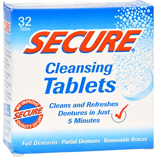 SECURE Denture Adhesive Denture Cleanser - 32 Tablets - Anti Bacterial Formula with Baking Soda