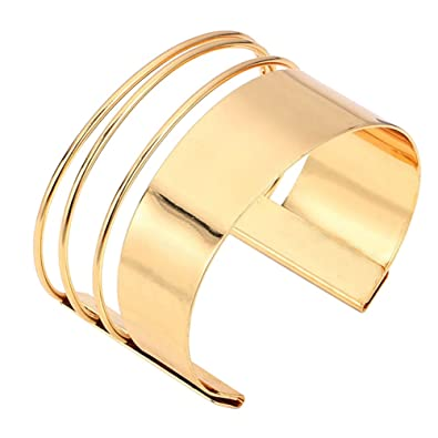 a85c8f3fb MXYZB Stainless Steel Smooth Hollow Hoop Open Ended Gold Wide Cuff Bangle  Bracelet Adjustable