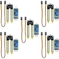 KeeYees Lot de 5 Module de capteur d'humidité de Sol - Double Mode Haute Sensibilité Soil Hygromètre Humidité de Détection Module avec Câble Dupont pour Arduino