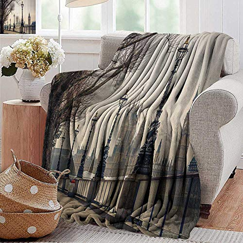 Cool Blanket,London Decor Collection,View of Big Ben and Houses of Parliament from The Riverside with Retro Street Lights Picture,Ivory,300GSM,Super Soft and Warm,Durable Throw Blanket 30