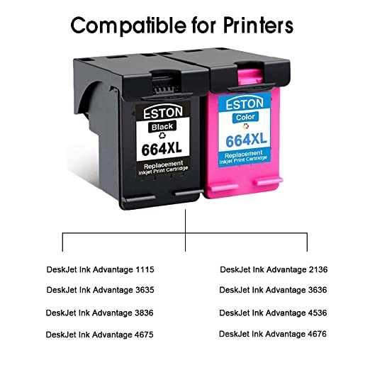 Eston 2 unidades # 664 XL negro/de tinta de color para HP DeskJet ...