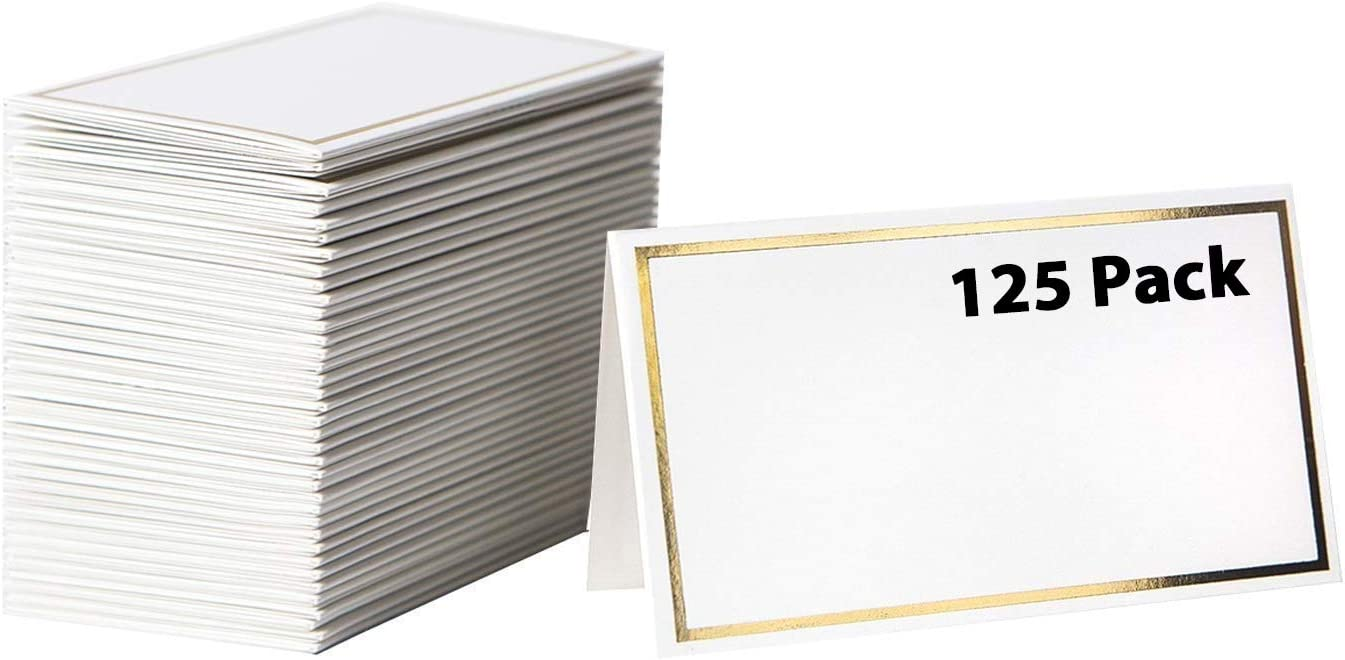 【125 Pack】 Place Cards -Elegant Name Cards with Gold Foil Borders -Perfect For Wedding, Business Event -Table Name Cards, Table Tent Cards, Seating Cards, Wedding Name Cards -2 x 3.5 Inches [125 Pack] 61JNUlYJUvL