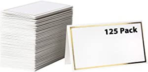 【125 Pack】 Place Cards -Elegant Name Cards with Gold Foil Borders -Perfect For Wedding, Business Event -Table Name Cards, Table Tent Cards, Seating Cards, Wedding Name Cards -2 x 3.5 Inches [125 Pack]