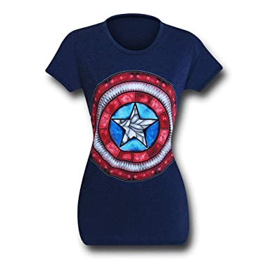 a73d68e25 Amazon.com: Captain America Stained Glass Shield Women's T-Shirt ...