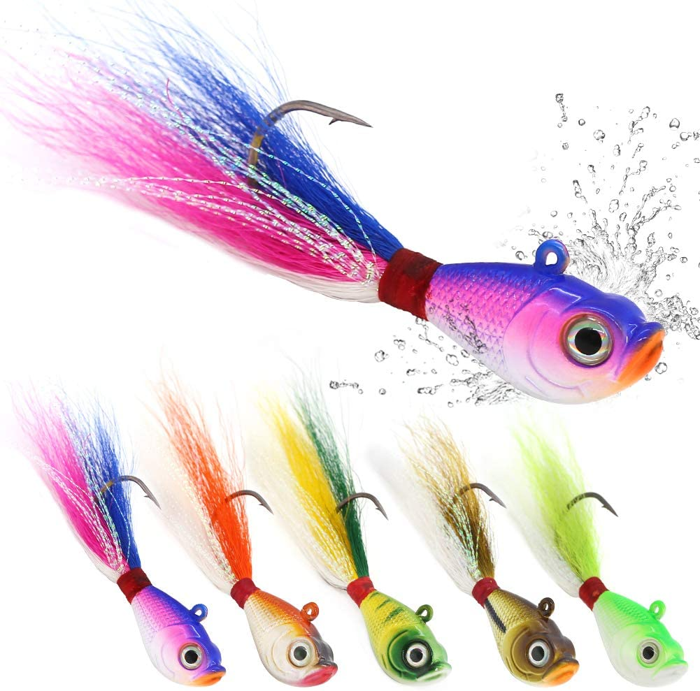 saltwater fishing lures in the bucktail jig category