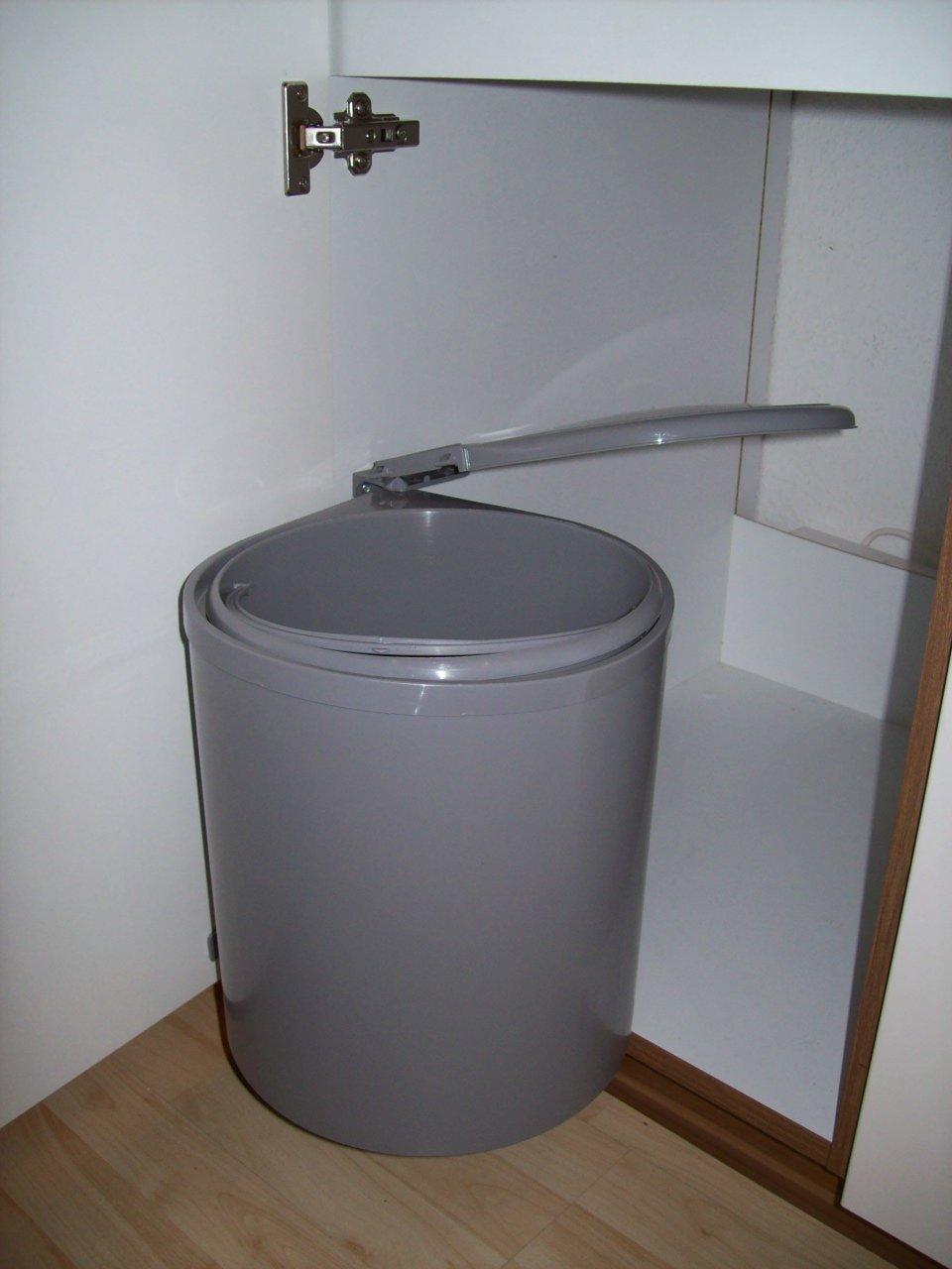 Einbau Abfallsammler, Facile grau, 12 Liter, Küchen Mülleimer, rund ...