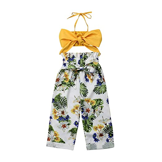 1126d95e7246ca Baby Girls Halter Off Shoulder Sleeveless Bowknot Crop Top + Floral Wide  Leg Pants Summer Outfits