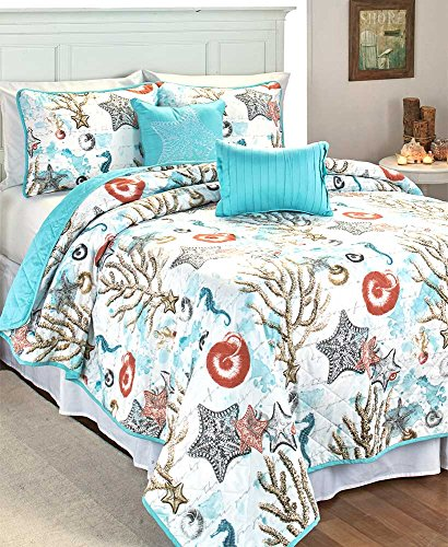 RT Designers Collection Coastal 5-Piece Quilt Set, King (Quilt Coastal Collection)