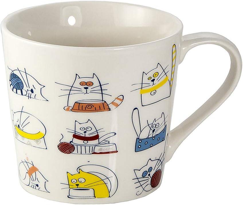 Tazas Desayuno Originales de Porcelana Fina, Taza de Café Grandes 15oz con Diseño de Gatos Graciosos, Regalo para Mujer y Hombres Amantes de los Gato