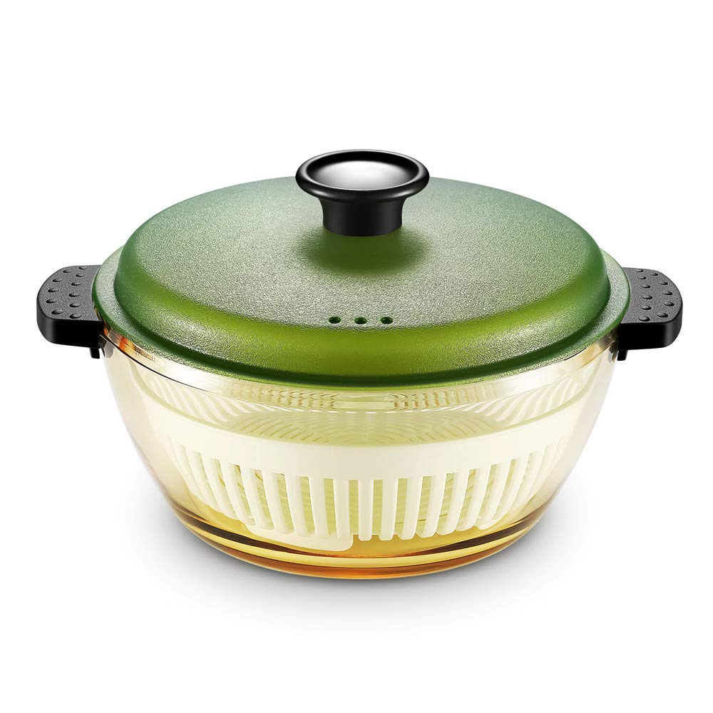 SJ DreamHome Glass Cooking Pot with lid 1.5L, healthy heat resistant Salad/Steamers/Pasta/Soup brown glass Pots