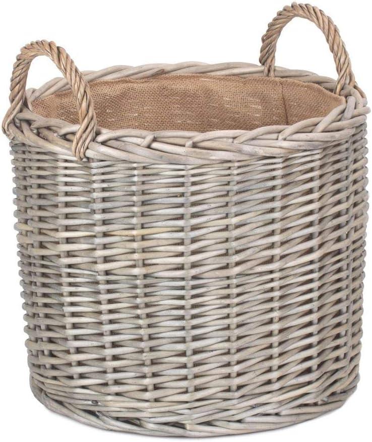 Red Hamper Set of 2 Round Lined Straight-Sided Wicker Log Storage Basket