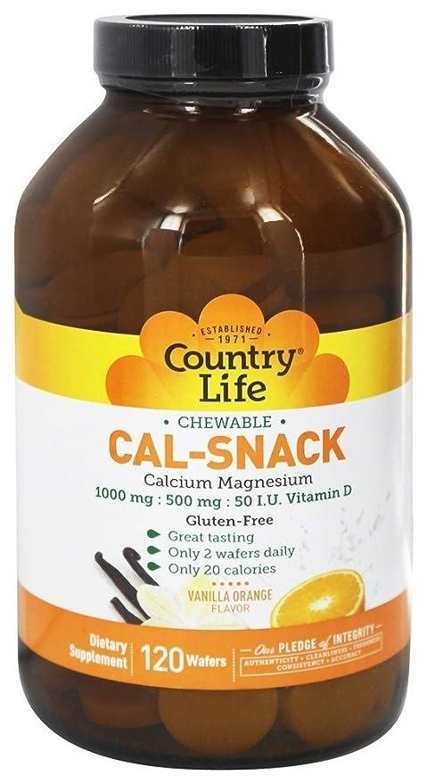 Country Life - Calcio masticable del Caloría-Bocado con vainilla del magnesio/sabor anaranjado