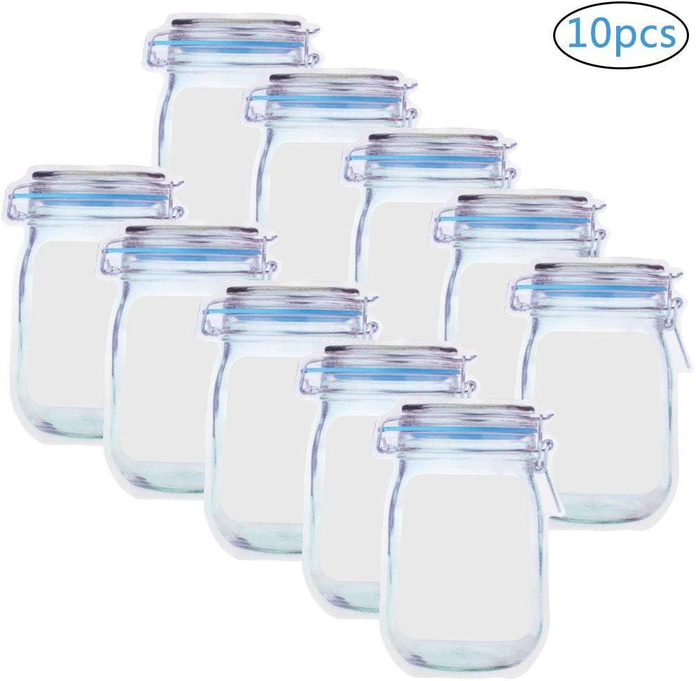 BESTZY Bolsa de Botella Mason 10 Piezas Bolsa de Merienda Reutilizable Nueces Galletas Bolsas Caramelo Snacks convenientes Suministros Selladas PE Bolsa de plástico de Almacenamiento