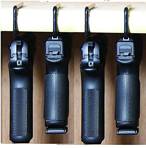 Safety Solutions For Gun Storage Pack of 4 Original Handgun Hangers (Hand made in USA) (4 hangers)