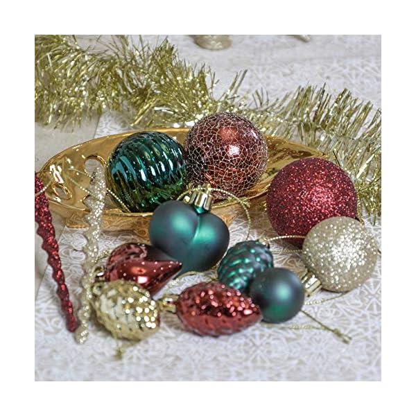 Valery Madelyn Palle di Natale 60 Pezzi di Palline di Natale, 3-5 cm di Strada di Campagna Rosso Verde e Oro Infrangibile Ornamenti di Palla di Natale Decorazione per la Decorazione 7 spesavip