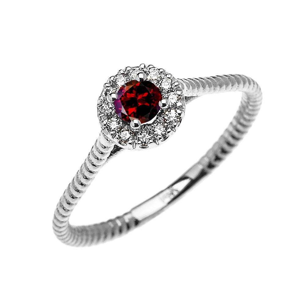 10k White Gold Dainty Halo Diamond and Solitaire Garnet Rope Design Promise Ring(Size 7.5) by Dainty and Elegant Gold Rings