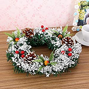 DENTRUN Christmas Wreath Whitehall Decorated,Handmade Festival Simulation Flowers Decoration Wedding Celebration,Winter Red Berry Holiday Versatile Design, Christmas Artificial Door Wreaths 3