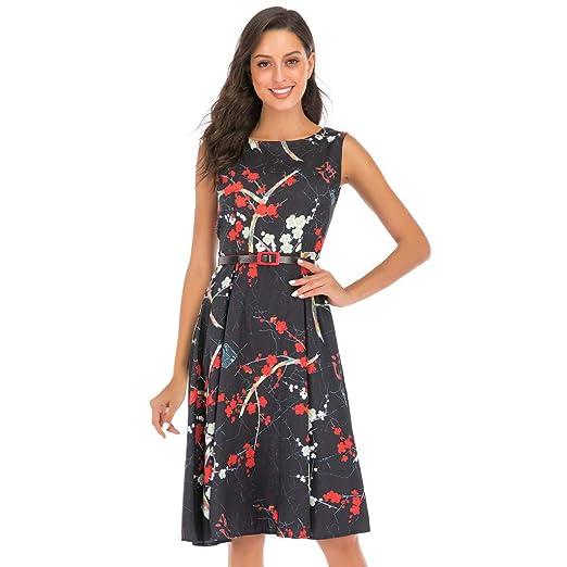 b5c223723fec Amazon.com: BB67 Women's Summer Dress Sleeveless O-Neck Section Plum Print  Pleated Long Maxi Dress with Belt: Clothing