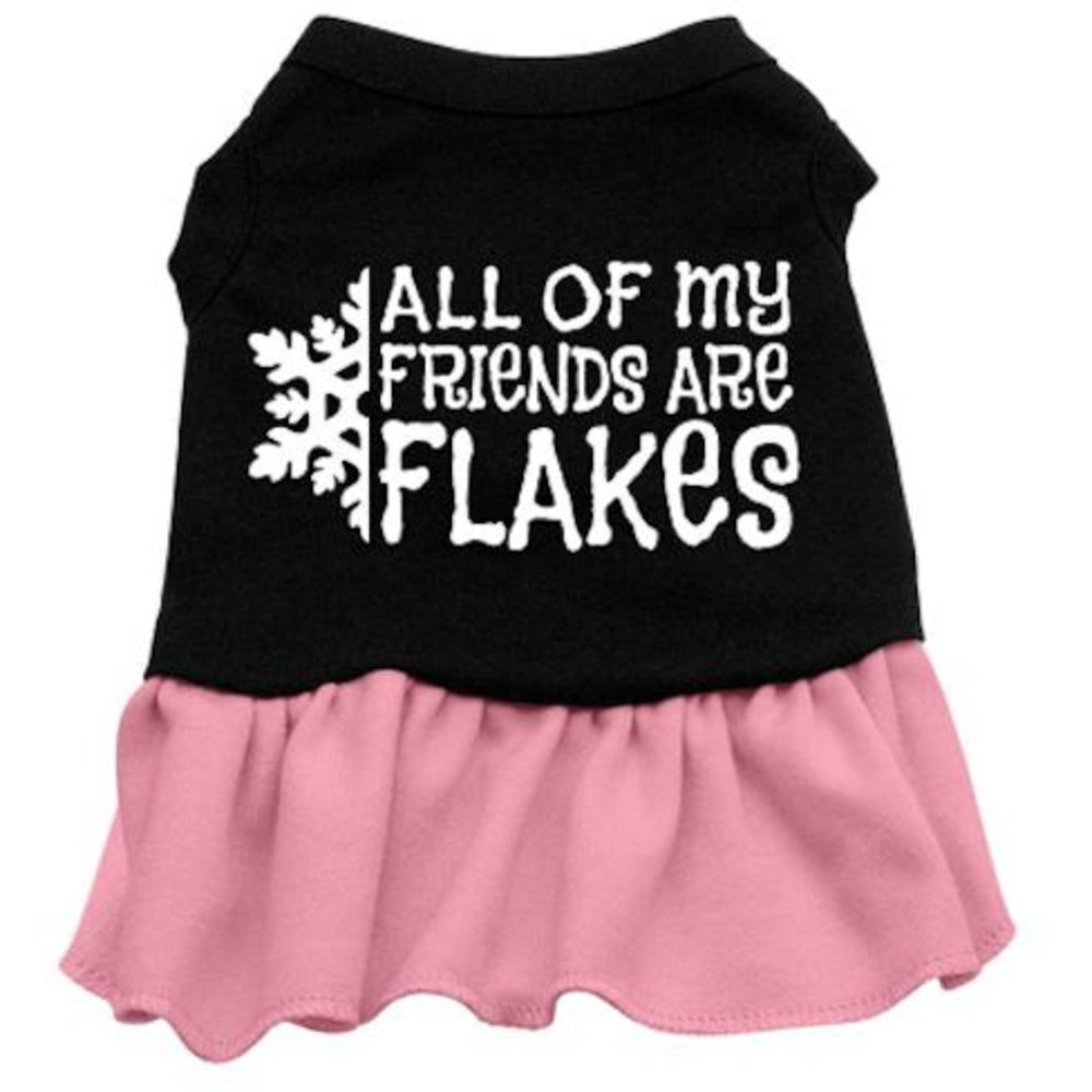Mirage Pet Products 8-Inch All My Friends are Flakes Screen Print Dress, X-Small, Black with Pink